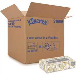 KLEENEX 21606 Facial Flat Tissue Boxes (, 125 Tissues/Box)