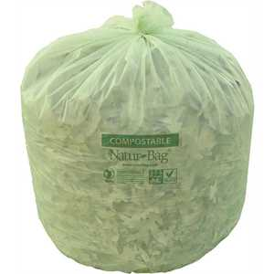 Natur-Bag NT1025-X-00028 96 Gal. 54 in. x 59 in. Green Compostable Trash Bags