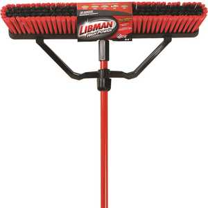 Libman 823 24 in. Multi-Surface Push Broom Set with Brace and Handle