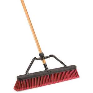 Libman 827 24 in. Multi-Surface Industrial Push Broom with Brace and Handle