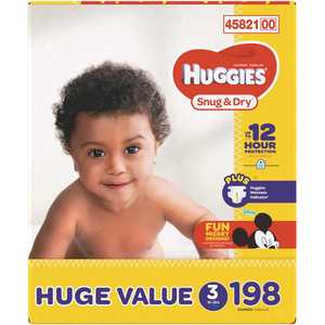 HUGGIES 45821 Snug and Dry Diapers Size 3