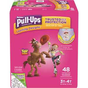 HUGGIES 48222 Pull-Ups Learning Designs Potty Training Pants for Girls, 4T-5T (38 - 50 lbs.)(Packaging May Vary)