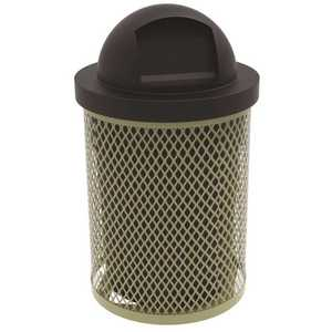 The Park Catalog 398-5000-1 Everest 32 Gal. Beige Trash Receptacle with Plastic Dome Top