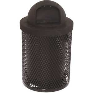 Everest 32 Gal. Black Trash Receptacle with Plastic Dome Top
