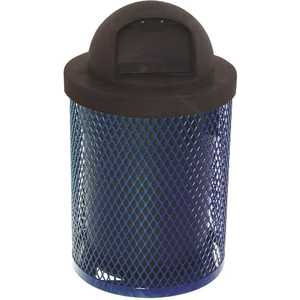 The Park Catalog 398-5000-3 Everest 32 Gal. Blue Trash Receptacle with Plastic Dome Top