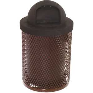 The Park Catalog 398-5000-4 Everest 32 Gal. Brown Trash Receptacle with Plastic Dome Top