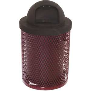 Everest 32 Gal. Burgundy Trash Receptacle with Plastic Dome Top