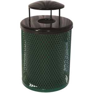 The Park Catalog 398-5003-6 Everest 32 Gal. Green Trash Receptacle with Rain Bonnet