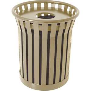Plaza 36 Gal. Beige Steel Strap Trash Receptacle with Flat Top