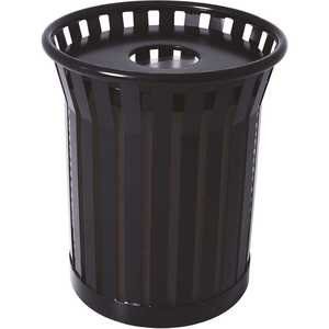 Plaza 36 Gal. Black Steel Strap Trash Receptacle with Flat Top