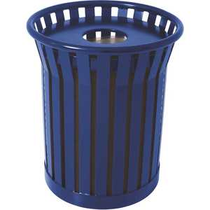 The Park Catalog 398-8002-3 Plaza 36 Gal. Blue Steel Strap Trash Receptacle with Flat Top