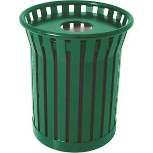 The Park Catalog 398-8002-7 Plaza 36 Gal. Green Steel Strap Trash Receptacle with Flat Top