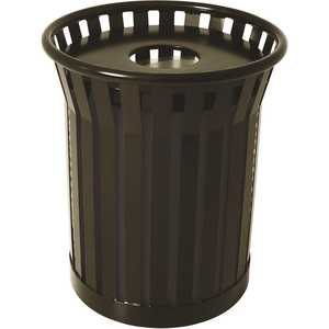 The Park Catalog 398-8002-8 Plaza 36 Gal. Matte Black Steel Strap Trash Receptacle with Flat Top