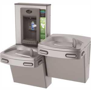 OASIS PG8EBFSL STN VersaCooler II COMBO ADA Stainless Electronic Bottle Filler and Bi-Level Drinking Fountain