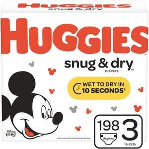 HUGGIES 49900 Snug & Dry Size 3 Diapers
