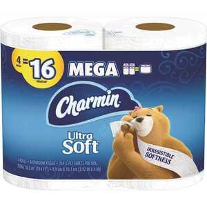 CHARMIN 003700052769 Ultra-Soft Toilet Paper (4-Mega Rolls)