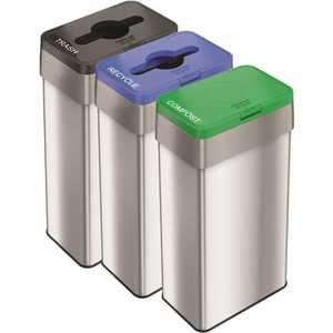 HLS COMMERCIAL HLS21UOTTRIO 21 Gal. Stainless Steel Recycle, Compost, and Trash Bins Set with Opening Lids