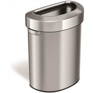 18 Gal. Stainless Steel Semi-Round Open Top Trash Can