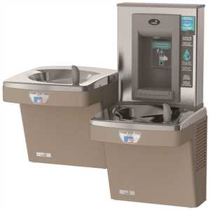 OASIS PGF8EBFSLTT SAN Contactless, Split-Level Drinking Fountain, ADA, Refrigerated and Filtered, with Contactless Bottle Filler in Sandstone