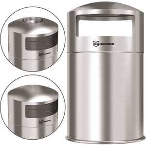 HLS COMMERCIAL HLS50DSO 50 Gal. Outdoor Dual Side-Entry Stainless Steel Round Trash Can with Removable Ashtray