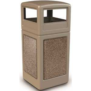 COMMERCIAL ZONE 72041599 StoneTec 42 Gal. Beige/Riverstone Square Trash Can with Ashtray Lid