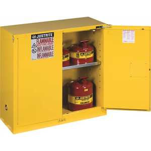 JUSTRITE MFG CO 893020 SAFETY STORAGE CABINET, 30 GALLON, 44 IN. X 43 IN. X 18 IN., SELF-CLOSE
