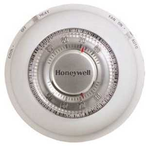 Honeywell Home T87N1000 Round Non-Programmable Thermostat with 1H/1C Single Stage Heating and Cooling