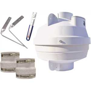 Suncourt RDK04-3 Radon Mitigation Fan Kit 4 in. Fan with 4 in. to 3 in. Couplers and Air Pressure Indicator
