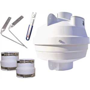 Suncourt RDK04 Radon Mitigation Fan Kit 4 in. Fan with 4 in. to 4 in. Couplers and Air Pressure Indicator