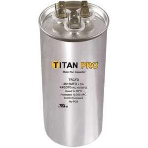 TITAN TRCFD6010 Run Capacitor 60+10 MFD 440/370-Volt Round