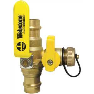 NIBCO 80612W 1/2 in. Press Forged Lead Free Full Port Brass Ball Hi-Flow Hose Drain Valve W/Reversible Handle & ADJ Packing Gland