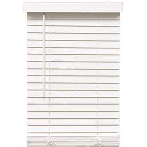 Designer's Touch 10793478410941 White Cordless Room Darkening 2 in. Faux Wood Blind for Window - 25 in. W x 48 in. L