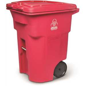 Toter RMN96-01RED 96 Gal. Red Hazardous Waste Trash Can with Wheels and Lid Lock