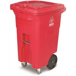 Toter RMC64-01RED 64 Gal. Red Hazardous Waste Trash Can with Wheels and Lid Lock (2 Caster Wheels 2 Stationary Wheels)
