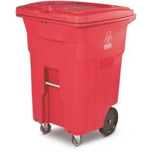 Toter RMC96-01RED 96 Gal. Red Hazardous Waste Trash Can with Wheels and Lid Lock (2 Caster Wheels 2 Stationary Wheels)