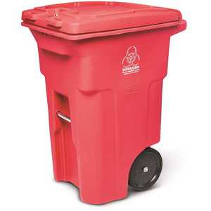 Toter RMN64-01RED 64 Gal. Red Hazardous Waste Trash Can with Wheels and Lid Lock