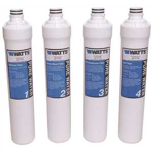 Watts PWFPK4KC4 Pure Water Master Filter Pack for Kwik Change 4-Stage Under-Sink Reveres Osmosis System