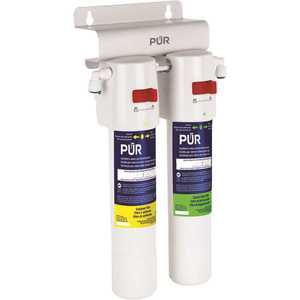 PUR PQC2FS Quick-Connect Dual Stage Under Sink Water Filtration System With Faucet in White