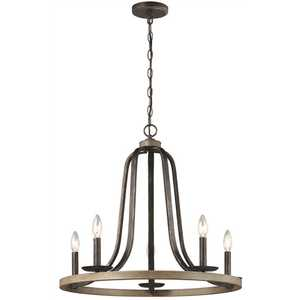 Sea Gull Lighting 3115905-846 Conal 5-Light Weathered Gray Wagon Wheel Rustic Farmhouse Bell Candlestick Chandelier with Distressed Oak Finish Accents