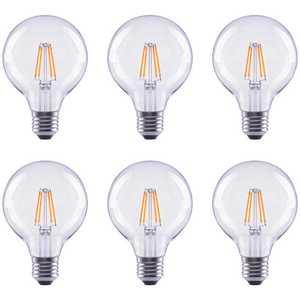 Global Value Lighting FG-03181 40-Watt Equivalent G25 Globe Vanity Clear Glass Vintage Edison Filament Dimmable LED Light Bulb Soft White