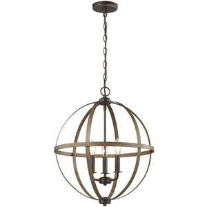 Sea Gull Lighting 5151003-846 Calhoun 3-Light Weathered Gray Rustic Farmhouse Hanging Globe Candlestick Chandelier with Distressed Oak Finish Accents