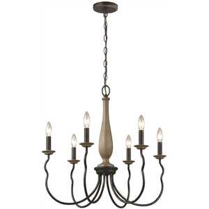 Sea Gull Lighting 3115806-846 Simira 6-Light Weathered Gray Classic Rustic Farmhouse Hanging Candlestick Chandelier with Distressed Oak Finish Accents