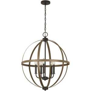 Sea Gull Lighting 5251005-846 Calhoun 5-Light Weathered Gray Rustic Farmhouse Hanging Globe Candlestick Chandelier with Distressed Oak Finish Accents
