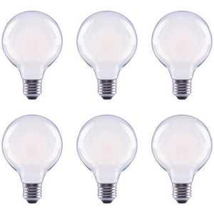 Global Value Lighting FG-03179 40-Watt Equivalent G25 Globe Vanity Frosted Glass Vintage Edison Filament Dimmable LED Light Bulb Soft White