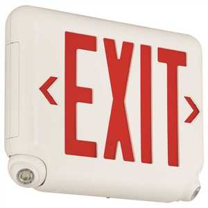Dual-Lite EVCURBD EVC 2.4-Watt Equivalent Integrated LED Combination Emergency/Exit Sign, Black with Red Letters