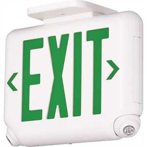 Dual-Lite EVCUGWDI EVC Series 2.4-Watt White/Green Integrated LED Combination Exit-Emergency Sign with Self-Diagnostics