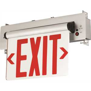 Compass CELS2RNE 3.72-Watt Equivalent Integrated LED Brushed Aluminum, Red Letters Double-Face Surface Edgelit Exit Sign with Battery