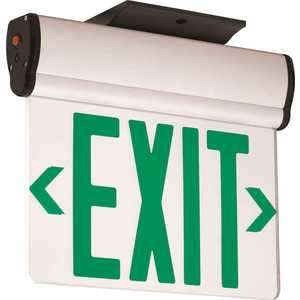 3.72-Watt Equivalent Integrated LED Brushed Aluminum, Green Letters Double-Face Surface Edgelit Exit Sign with Battery