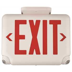 Dual-Lite EVCURBD4 EVC 2.4-Watt Equivalent Integrated LED Combination Emergency/Exit Sign with Remote Capacity, Black with Red Letters