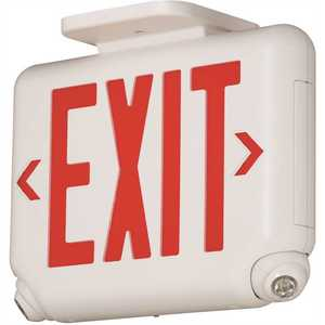 EVC Series 2.4-Watt White/Red Integrated LED Combination Emergency-Exit Sign with Self-Diagnostics